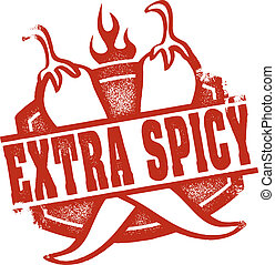 A distressed extra spicy stamp featuring crossed chili peppers. Perfect for menus.