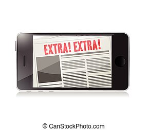 extra, telefon, online, abbildung, nachrichten