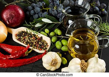 Extra virgin olive oil and mediterranean food ingredients