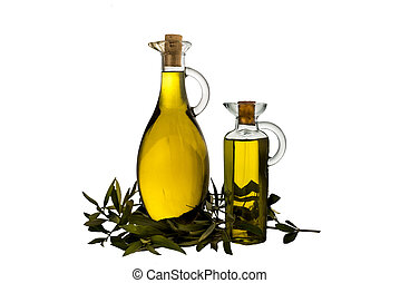 Extra Virgin olive oil in two glass rustic bottles