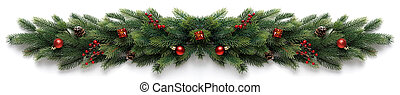 Extra wide Christmas border with fir branches, red balls, pine cones and other ornaments