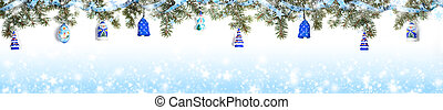 Extra wide Christmas border with fir branches, snow, shiny ribbon, christmas toys on gradient blue background with snow.