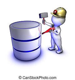 extracting, данные, концепция, персонаж, база данных
