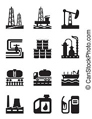 Extraction and processing of oil - vector illustration