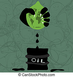 Illustration on the planet and the depletion of natural resource
