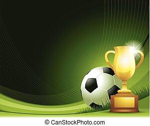 extracto verde, futbol, plano de fondo, con, pelota, y, trofeo
