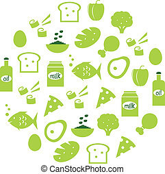 extracto verde, globo, con, iconos del alimento, (, verde, )