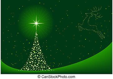 extracto verde, navidad, plano de fondo, con, árbol de navidad, y, reno