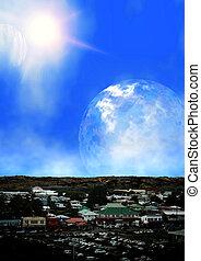 extranjero, área, compras, planeta