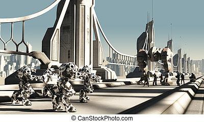 extranjero, batalla, droids, y, espacio, marinos