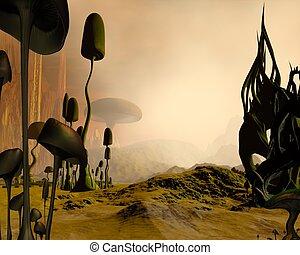 extranjero, brumoso, paisaje del desierto