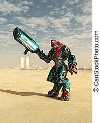 extranjero, combate, droid, en, el, desierto
