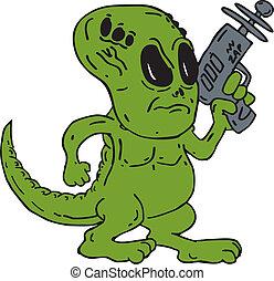 extranjero, dinosaurio, tenencia, arma del rayo, caricatura