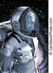 extranjero, en, traje espacial