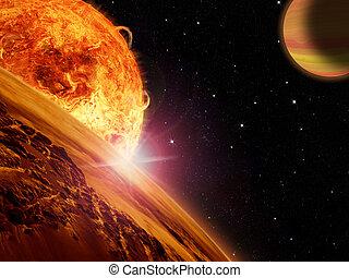 extranjero, gigante, rocoso, sol, encima, gas, luna,...