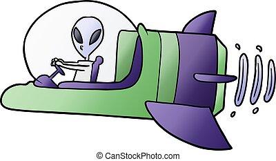 extranjero, nave espacial, caricatura