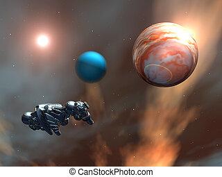 extranjero, nave espacial, espacio