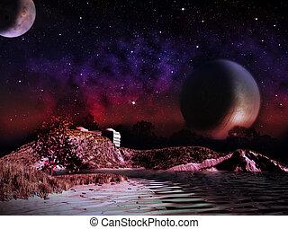 extranjero, planet., dos, lunas, por la noche, subida, encima, el, paisaje, con, un, lake., -, artista, impresión, de, fantasía, paisaje