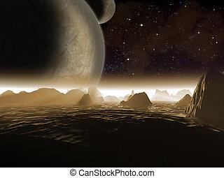 extranjero, planet., dos, lunas, por la noche, subida, encima, el, paisaje, de, un, rocoso, luna, -, artista, impresión, de, fantasía, paisaje