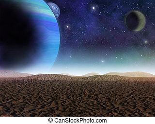 extranjero, planet., el, vista, de, planetas, y, lunas, de, un, arenoso, desert., -, artista, impresión, de, fantasía, paisaje