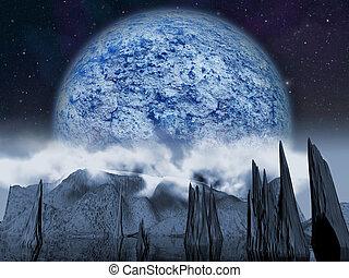 extranjero, planet., grande, luna azul, noche, subidas, encima, un, nublado, paisaje, con, un, lake., -, artista, impresión, de, fantasía, paisaje