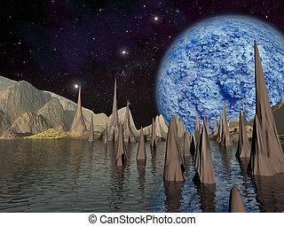 extranjero, planet., grande, planeta azul, subidas, encima, el, paisaje, con, un, lake., -, artista, impresión, de, fantasía, paisaje