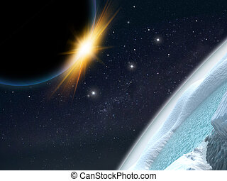 extranjero, planeta, ciencia ficción, scene., artist's, rendition.