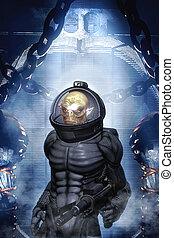extranjero, soldado, en, traje espacial
