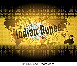 extranjero, tasa, intercambio, rupia, exposiciones, indio