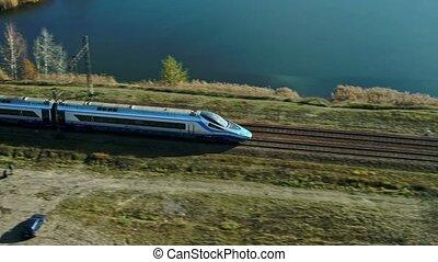 extraordinaire, dépassement, forêt, vitesse, train, élevé, lac, passager