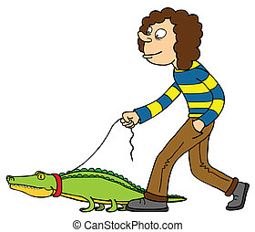Extraordinary Pet - A man walking with his pet (Crocodile)...