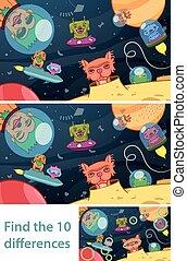 extraterrestre, puzzle, gosses, différences, espace