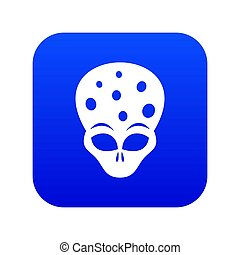 Extraterrestrial alien head icon digital blue