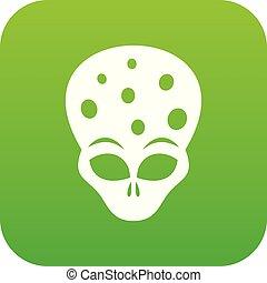 Extraterrestrial alien head icon digital green