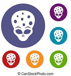 Extraterrestrial alien head icons set