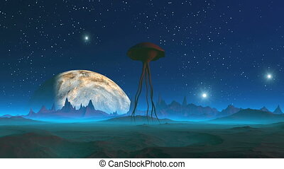 Extraterrestrial Creature on an Alien Planet
