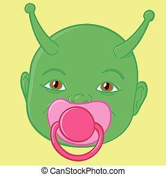 Extraterrestrial green baby head with alien antenna sucking...
