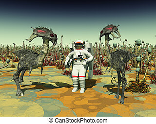 Computer generated 3D illustration with extraterrestrial creatures and astronaut