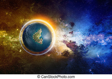 Abstract scientific background - discovered Earth-like planet with liquid water and glowing shield. Elements of this image furnished by NASA