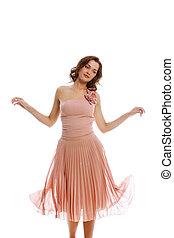 Extravagance - Portrait of beautiful girl in elegant dress...