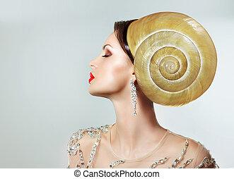 extravagancy., mujer, hairstyle., caracol, headwear, estrafalario, raro, extremo