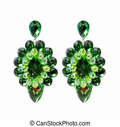 extravagant big green earrings on a white background.