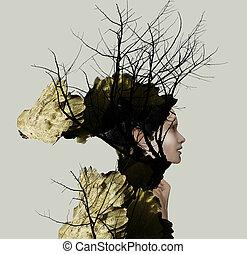 extravange, 肖像, 外形, ......的, a, 美麗, 女孩