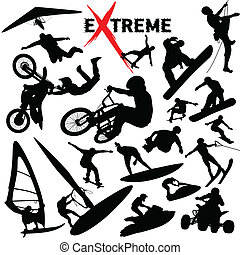 extreem, silhouettes, vector, sportende