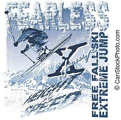 extreem, ski, vrije daling