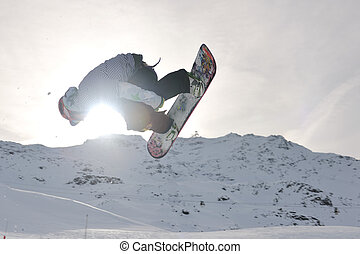 extreem, sprong, snowboarder