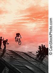 extrem, спорт, of, youth., красивая, но, рискованный, performance., unidentified, bmx, наездник, изготовление, велосипед, прыгать