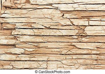 extrem nära, av, en, gammal, knäckt, trä, yta