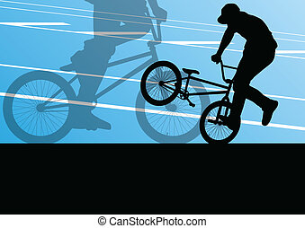 extrem, radfahrer, aktive, sport, silhouetten, vektor,...