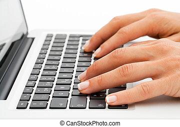 extrem schließen, von, hände, keyboard.